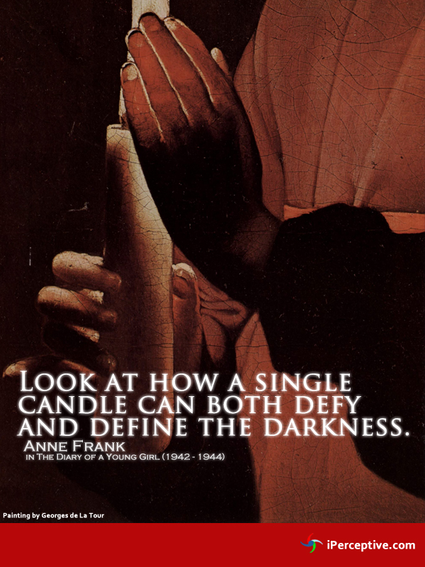 anne frank quotation: candle defy the darkness
