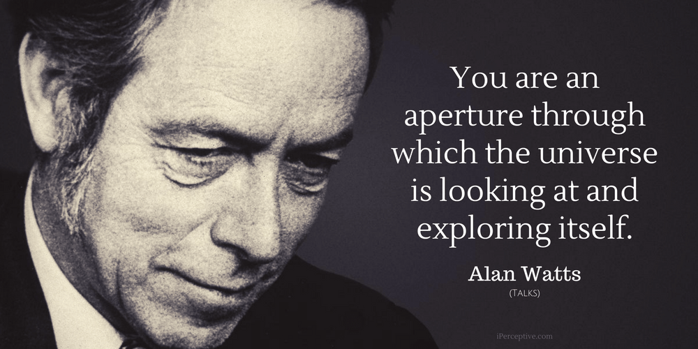 Alan Watts Quote: You are an aperture through which the universe is looking at and exploring itself.