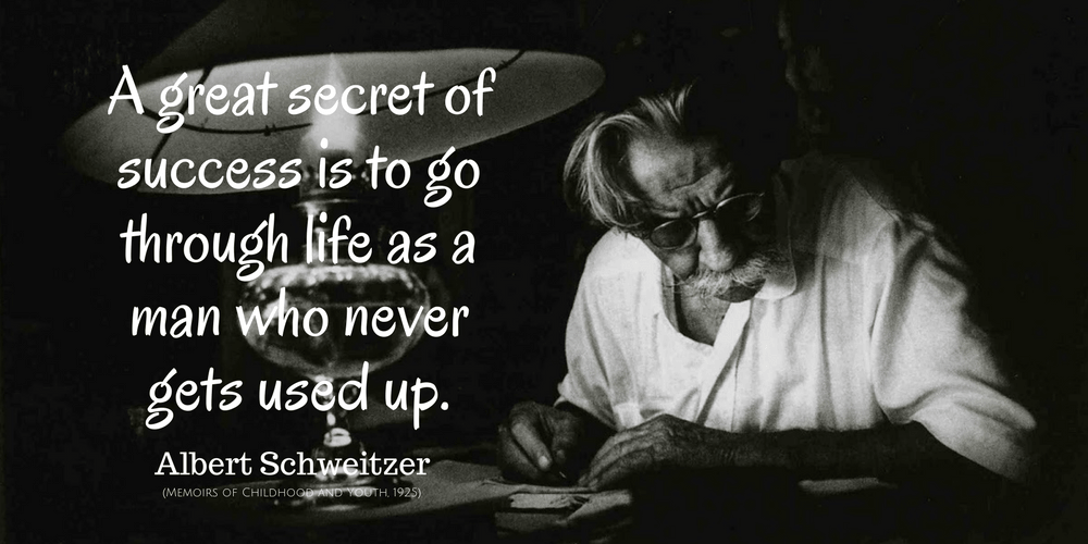 Albert Schweitzer Quote: A great secret of success is to go through life as a man who never gets used up.