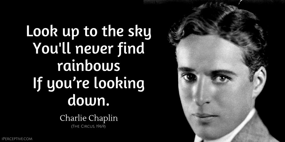 Charlie Chaplin Quote: Look up to the sky You'll never find rainbows If you're looking down.