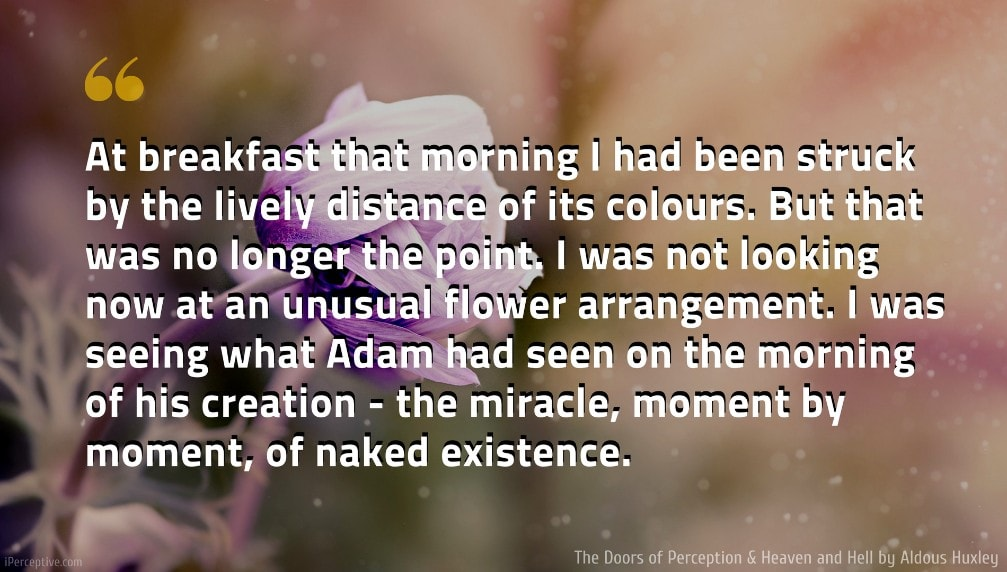 Aldous Huxley Quote: At breakfast that morning I had been struck by the lively distance of its colours. But that was no longer the point. I was not looking now at an unusual flower arrangement. I was seeing what Adam had seen on the morning of his creation - the miracle, moment by moment, of naked existence.