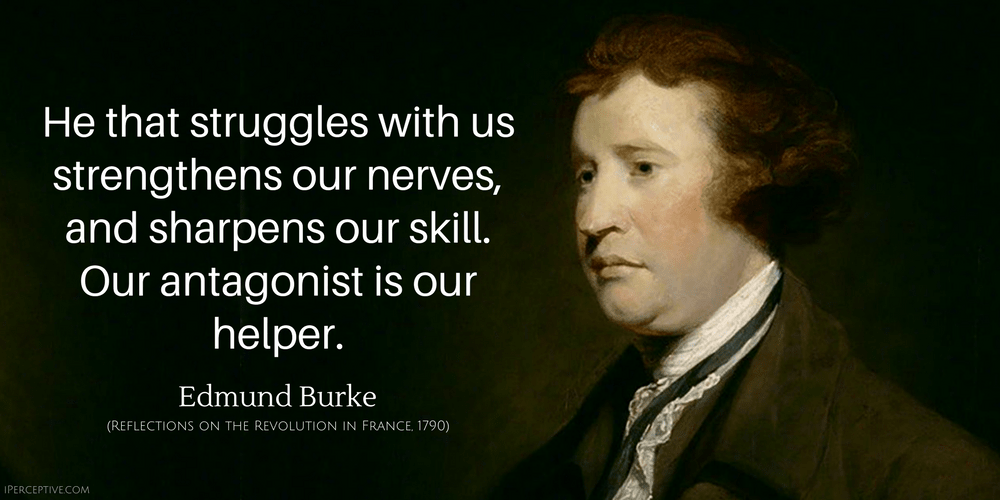 Edmund Burke Quote: He that struggles with us stregthens our nerves...