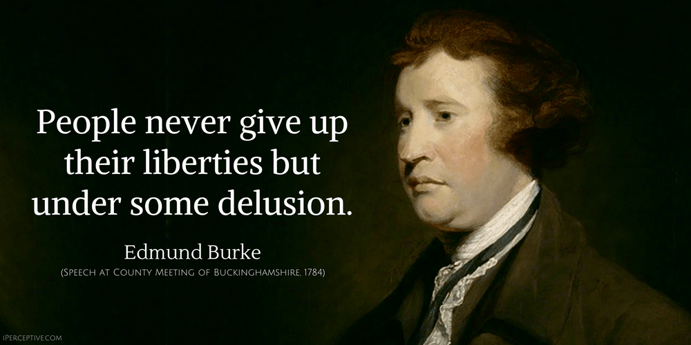 Edmund Burke Quote: People never give up their liberties but under some delusion.
