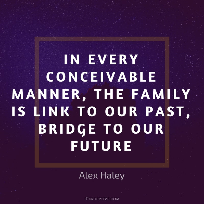 Alex Haley Quote: In every conceivable manner, the family is link to our past, bridge to our future.