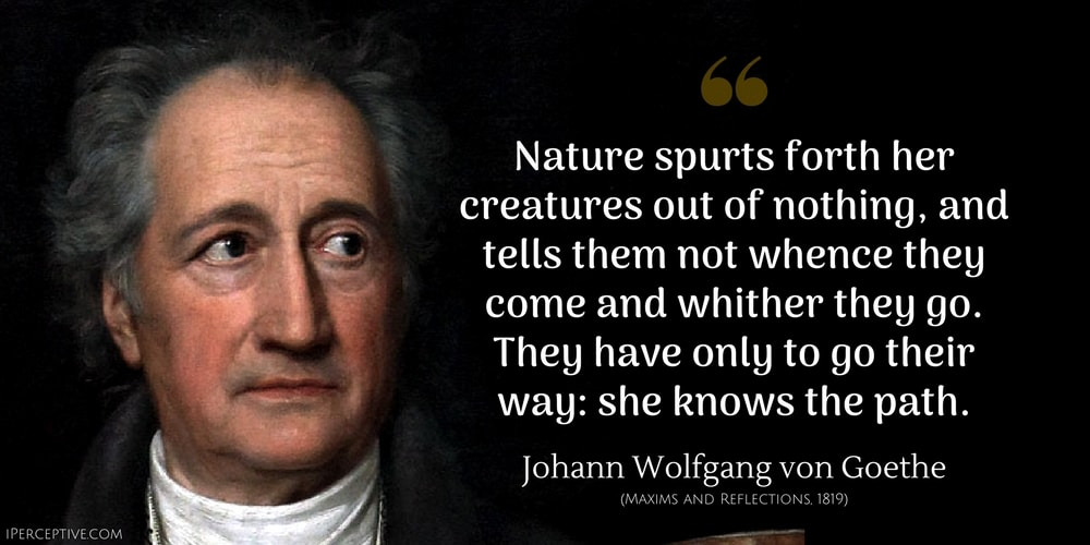 Johann Wolfgang von Goethe Quote: Nature spurts forth her creatures out of nothing, and tells them not whence they come and whither they go. They have only to go their way: she knows the path.