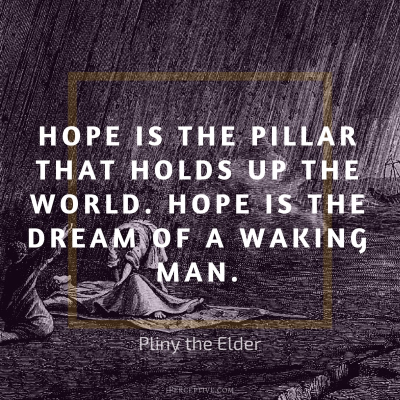 Pliny the Elder Quote: Hope is the pillar that holds up the world. Hope is the dream of a waking man.