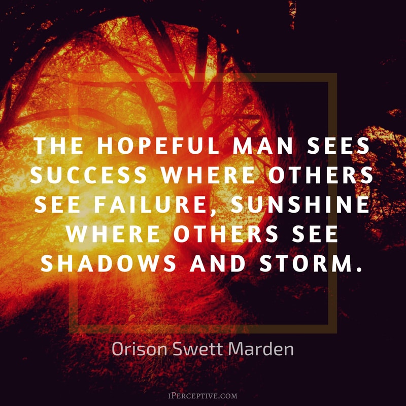 Orison Swett Marden Quote: The hopeful man sees success where others see failure, sunshine where others see shadows and storm.