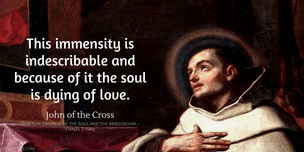 John of the Cross Quote: This immensity is indescribable and because of it the soul is dying of love.