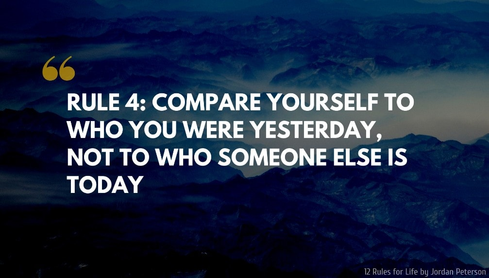 Jordan Peterson Quote: RULE 4 COMPARE YOURSELF TO WHO YOU WERE YESTERDAY, NOT TO WHO SOMEONE ELSE IS TODAY