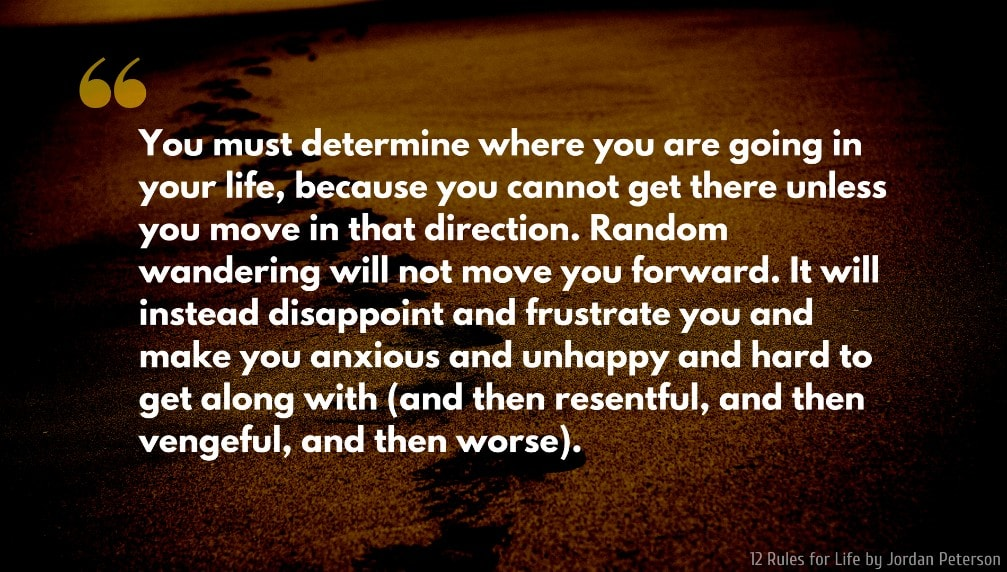Jordan Peterson Quote: You must determine where you are going in your life, because you cannot get there unless you move in that direction. Random wandering will not move you forward. It will instead disappoint and frustrate you and make you anxious and unhappy and hard to get along with (and then resentful, and then vengeful, and then worse).