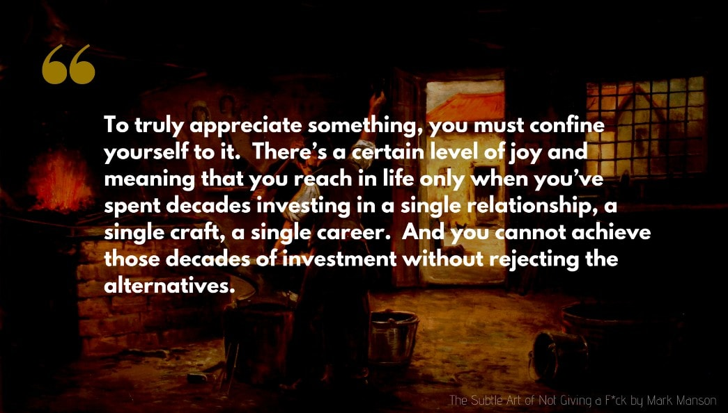Mark Manson Quote: To truly appreciate something, you must confine yourself to it.  There's a certain level of joy and meaning that you reach in life only when you've spent decades investing in a single relationship, a single craft, a single career.  And you cannot achieve those decades of investment without rejecting the alternatives.