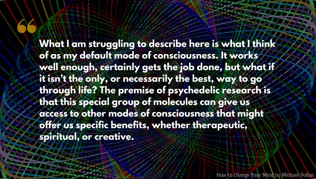 Michael Pollan Quote: What I am struggling to describe here is what I think of as my default mode of consciousness...