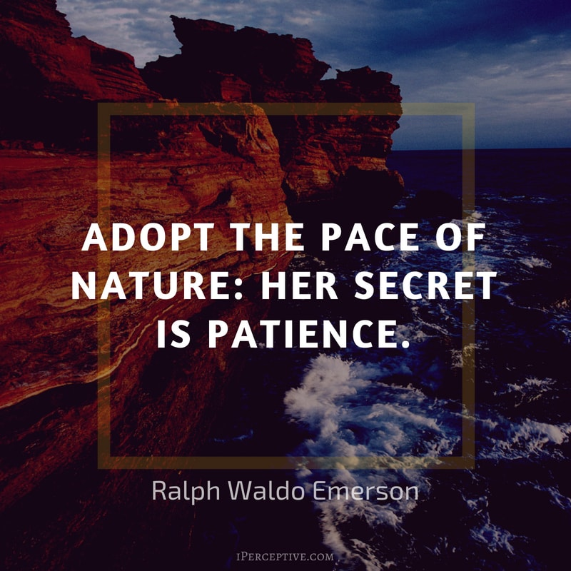 Ralph Waldo Emerson Quote: Adopt the pace of nature: her secret is patience.