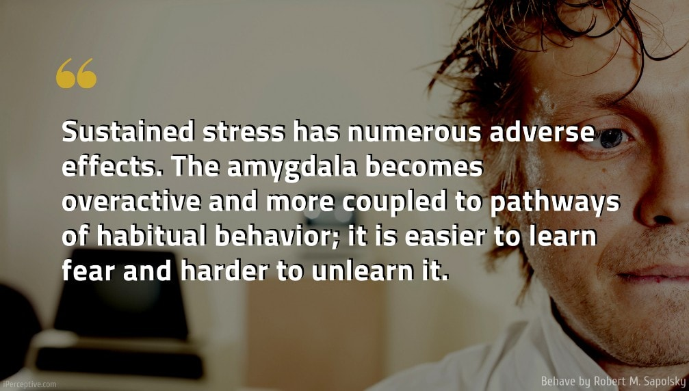 Robert M. Sapolsky Quote: Sustained stress has numerous adverse effects. The amygdala becomes overactive and more coupled to pathways of habitual behavior; it is easier to learn fear and harder to unlearn it.