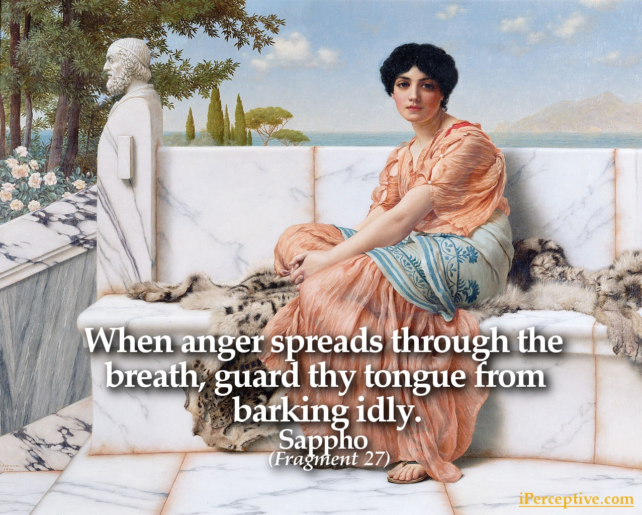 Sappho Quote: When anger spreads through the breath, guard thy tongue...