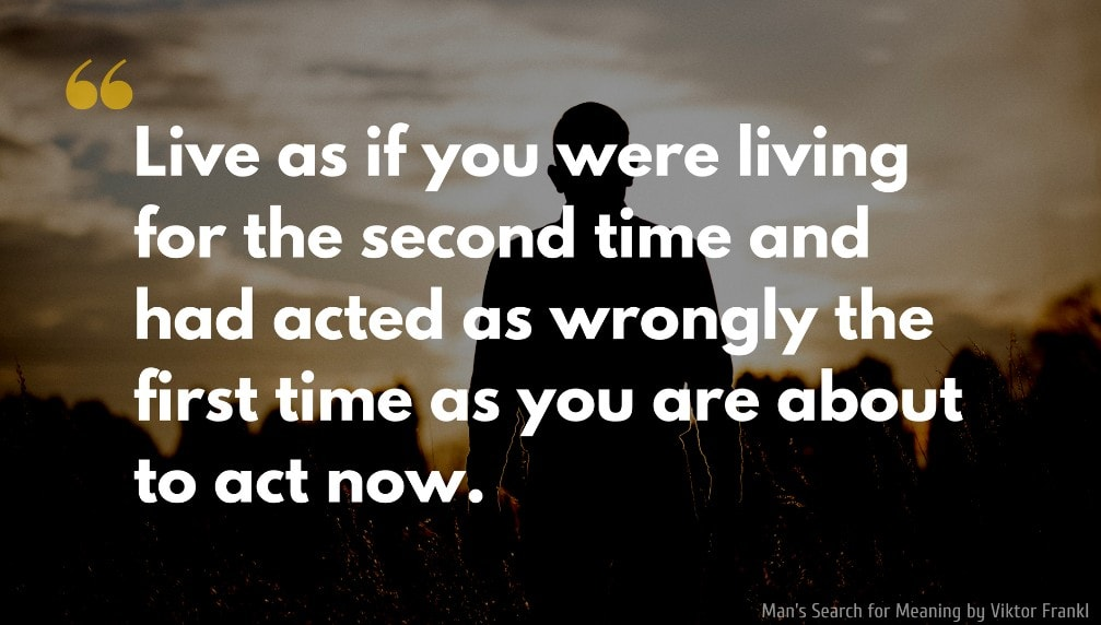 Viktor Frankl Quote: Live as if you were living for the second time and had acted as wrongly the first time as you are about to act now.